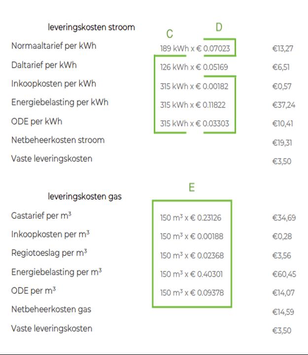 Voorbeeldberekening vaste contractprijzen